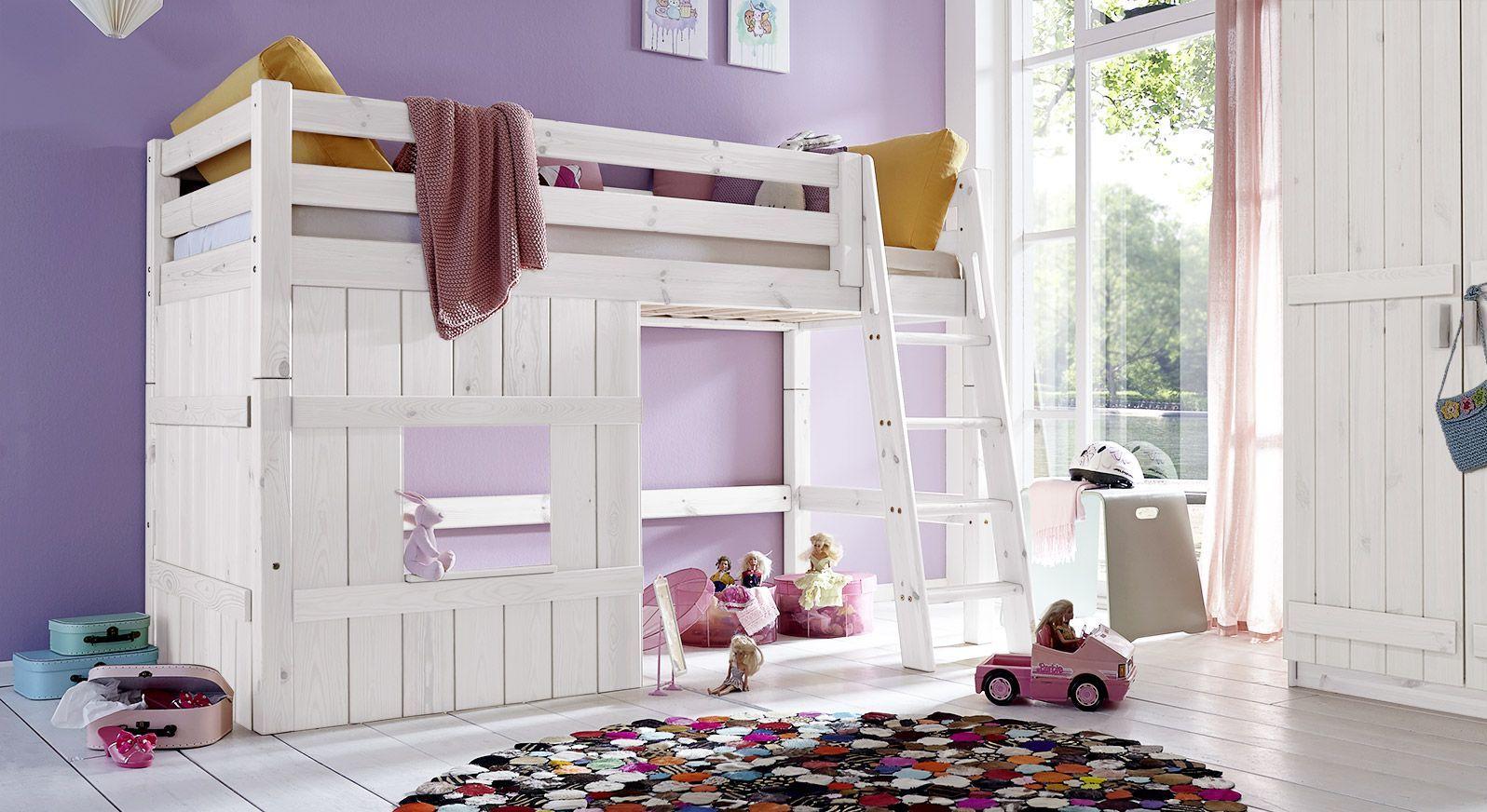 Hütten-Hochbett Kids Paradise für Mädchen in weiß lasierter Kiefer