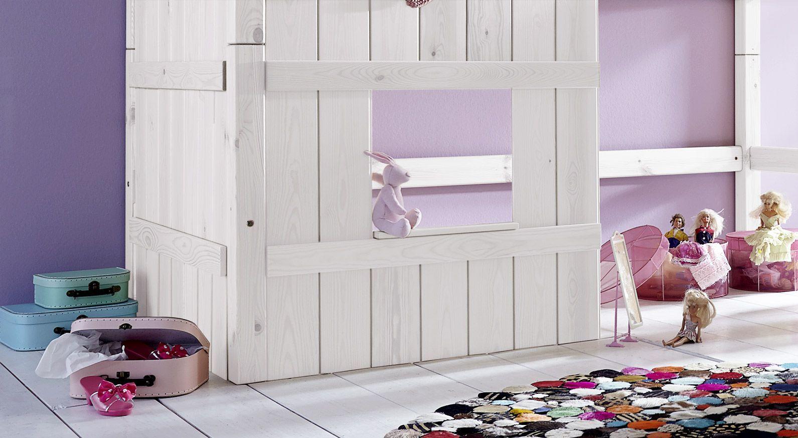 Hütten-Hochbett Kids Paradise für Mädchen mit Holzverkleidung und Fenster