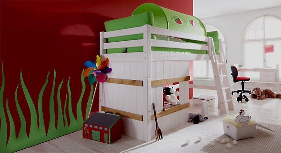 Hütten-Midi-Hochbett Kids Paradise in Weiß mit grünem Spieltunnel
