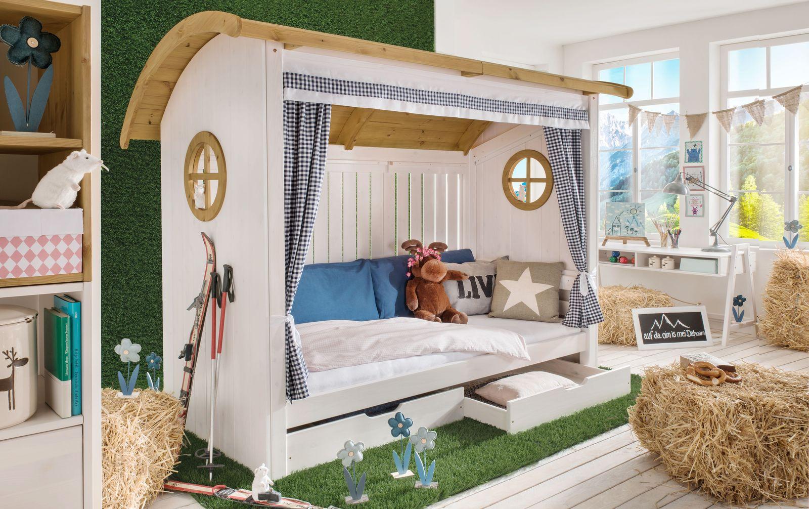 Hüttenbett Alpengaudi aus weiß lasierter Kiefer