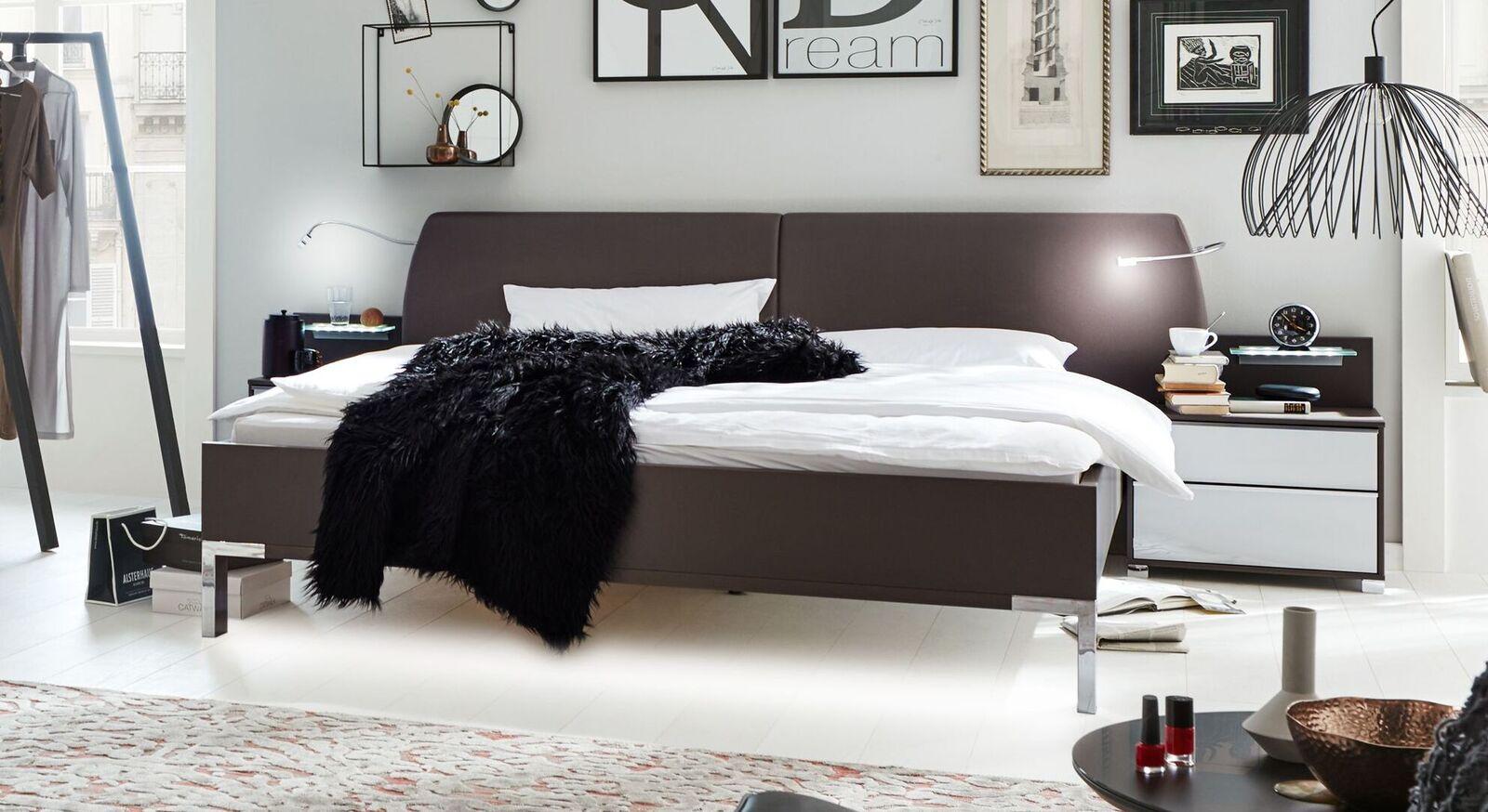 Modernes INTERLIVING Bett 1006 mit Kunstleder-Bezug