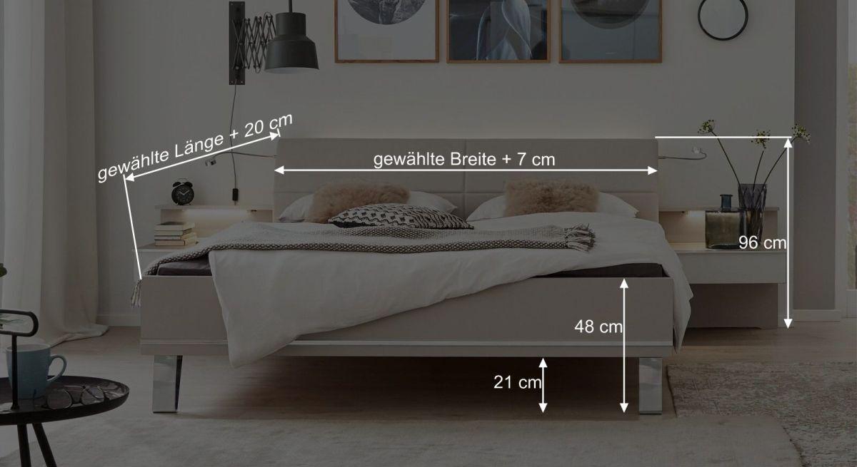 Bemaßungsgrafik Interliving Bett 1009