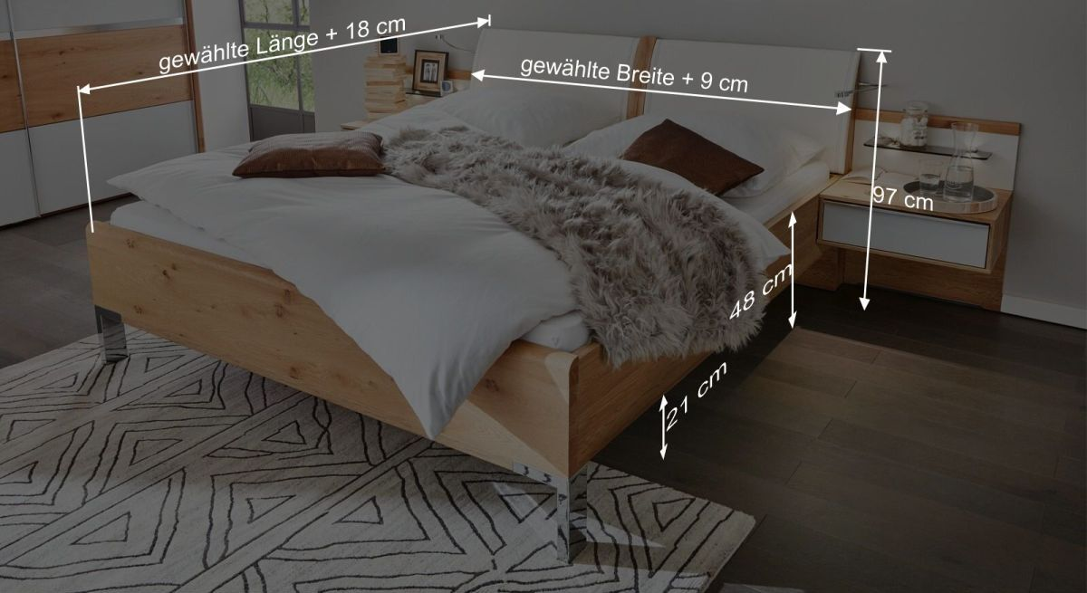 Bemaßungsgrafik zum Interliving Bett 1202