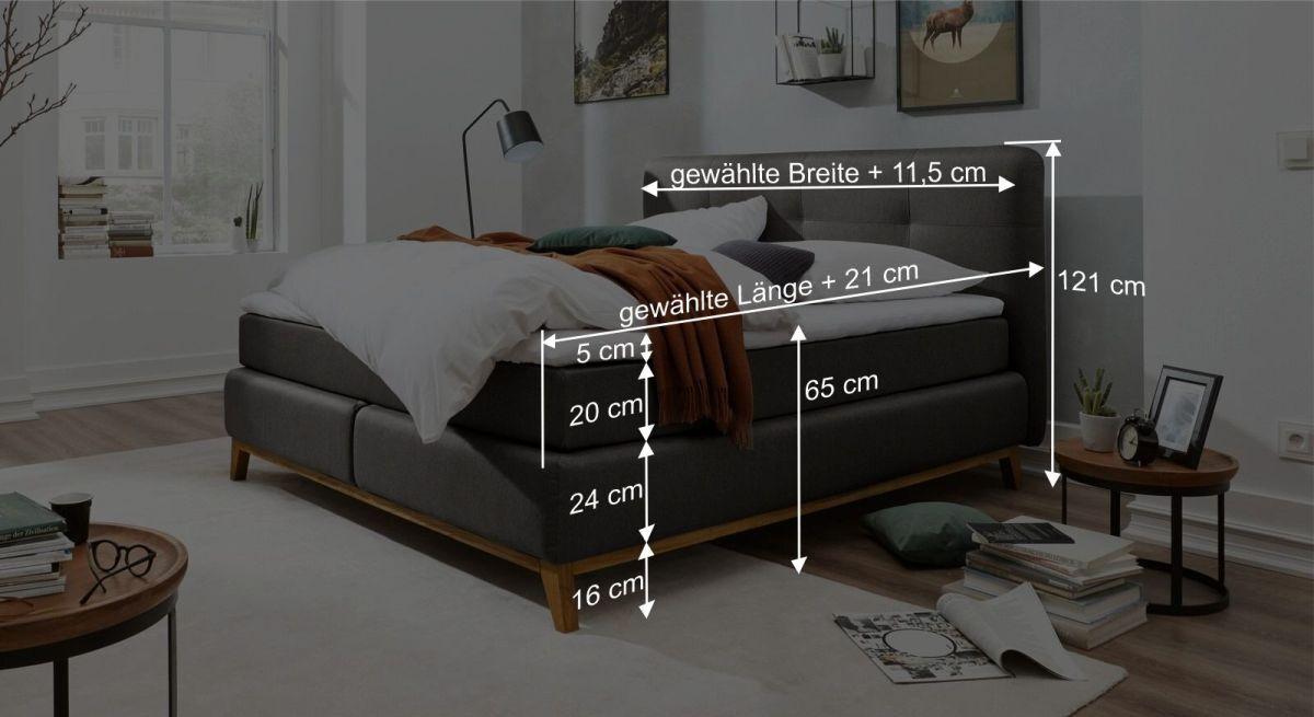 Bemaßungsgrafik zum Interliving Bett 1406