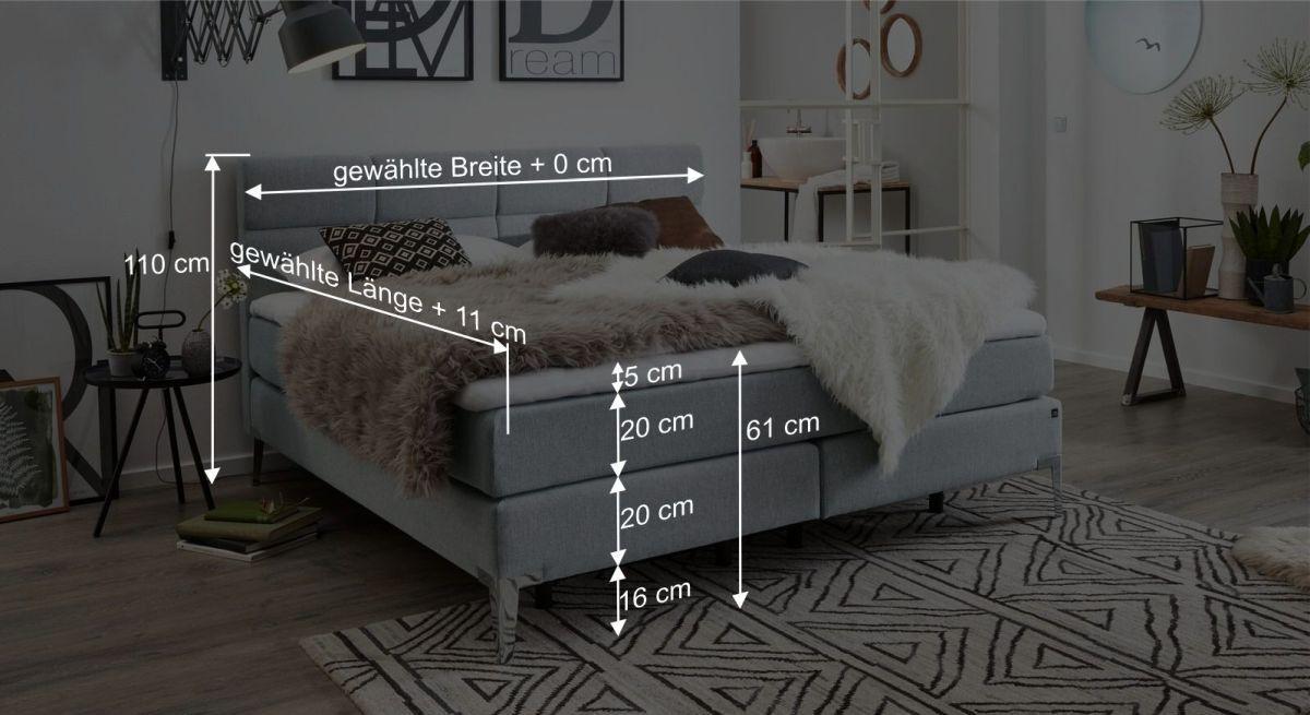 Bemaßungsgrafik zum Interliving Bett 1408 A