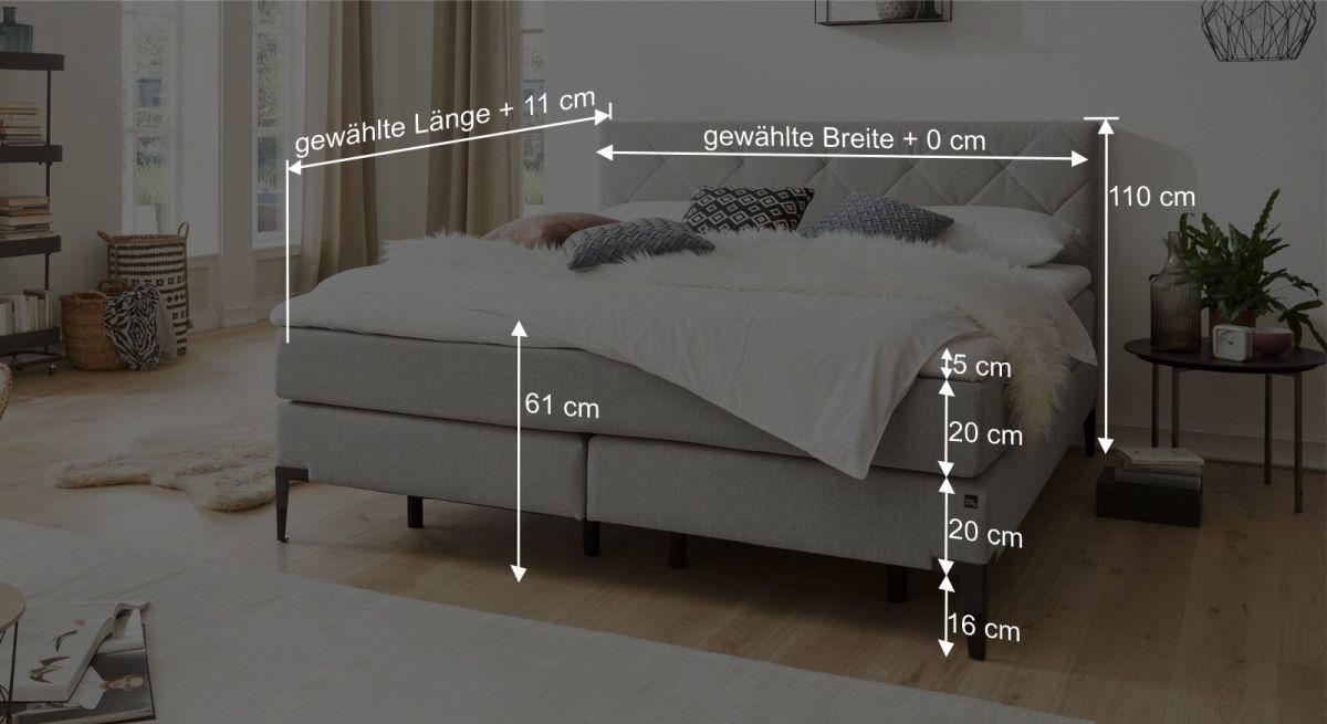 Bemaßungsgrafik zum Interliving Bett 1408 B