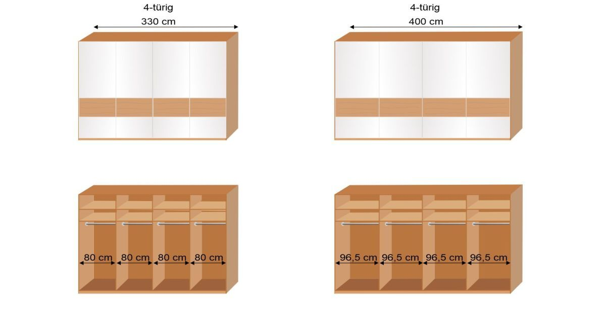 Bemaßungsgrafik Interliving Schwebetüren Kleiderschrank 1202