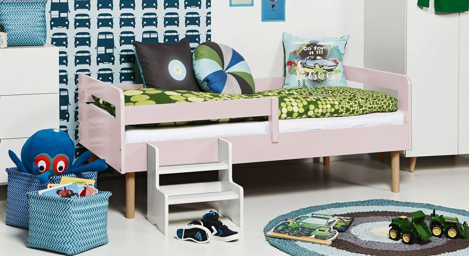 Modernes Kinderbett Kids Town Retro aus hellrosanem MDF