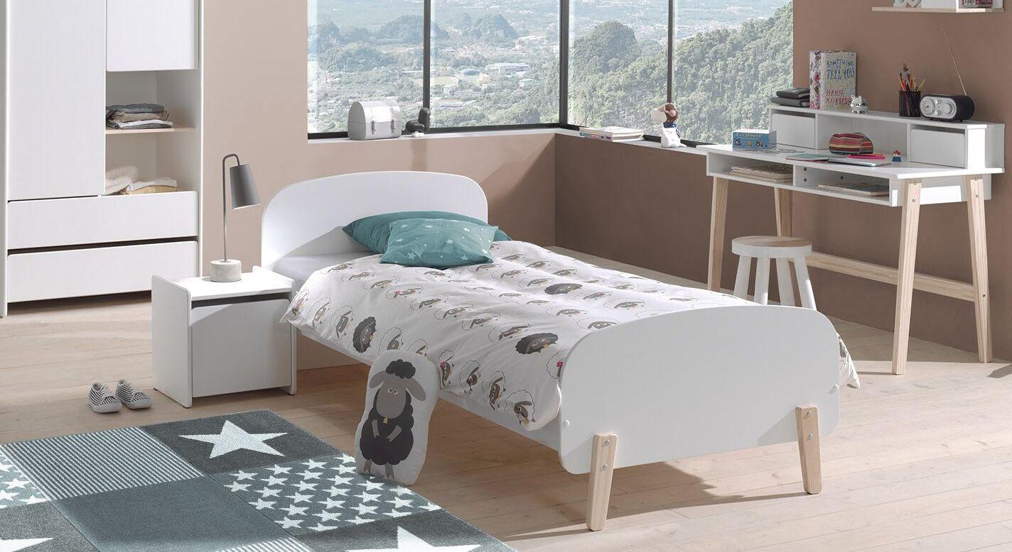 Kinderbett Maila in weißem Dekor