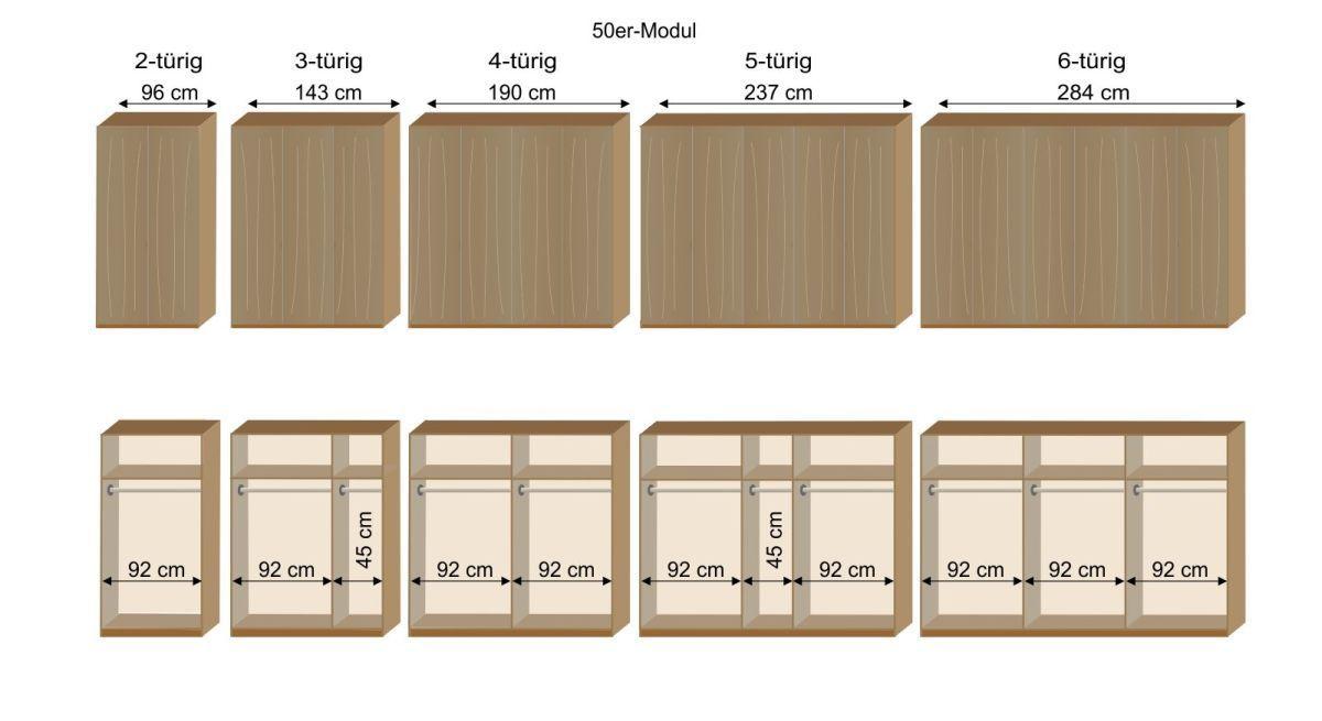 Grafik zur Inneneinteilung des Kleiderschranks Eichfeld mit 50er Modulen