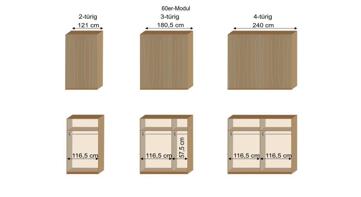 Grafik zur Inneneinteilung des 2-4-türigen Kleiderschranks Eichfeld mit 60er Modulen