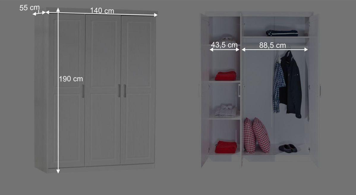 Kleiderschrank Enns mit informativer Maßgrafik