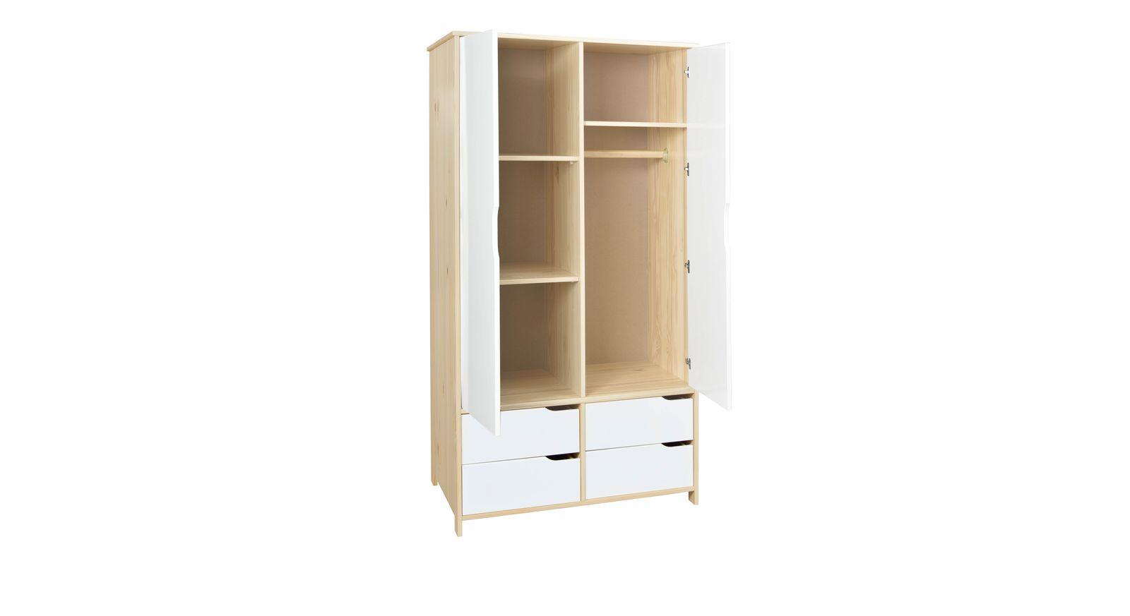 wei er kleiderschrank mit schubladen f r jugendzimmer erin. Black Bedroom Furniture Sets. Home Design Ideas