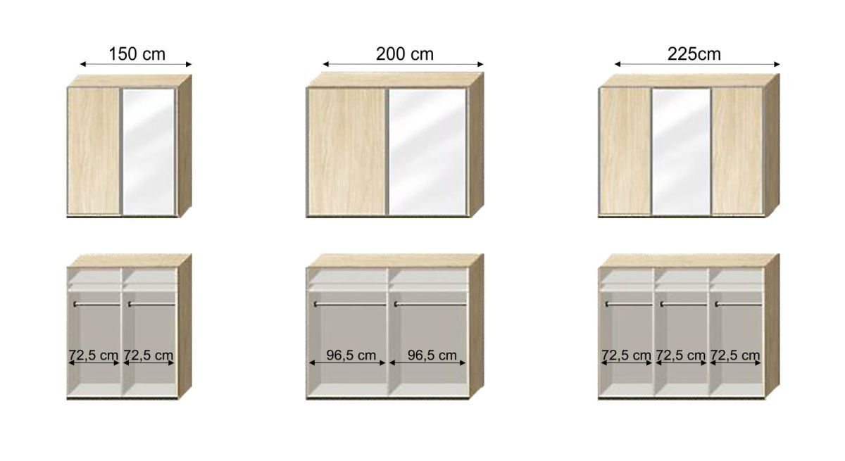 Grafik der Inneneinteilung zum Kleiderschrank Palmira - Breite 150-225 cm
