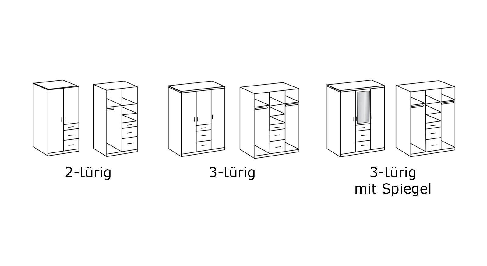 Grafik zu den Varianten von Kleiderschrank Porvenir