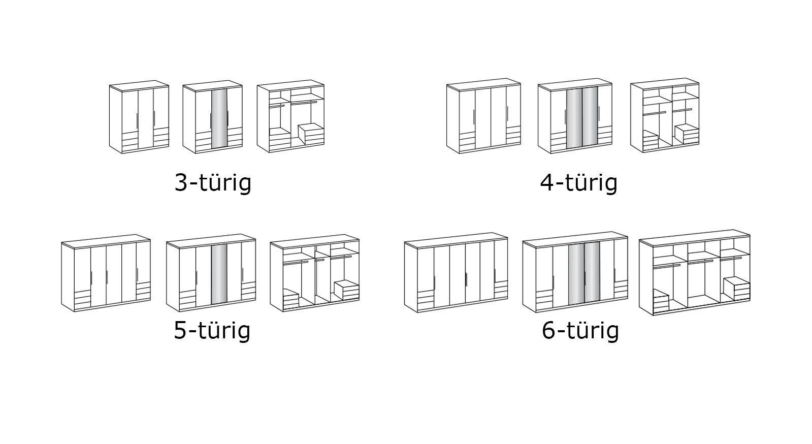 Grafik zur Inneneinteilung des Kleiderschranks Valloria in der Höhe 216 cm