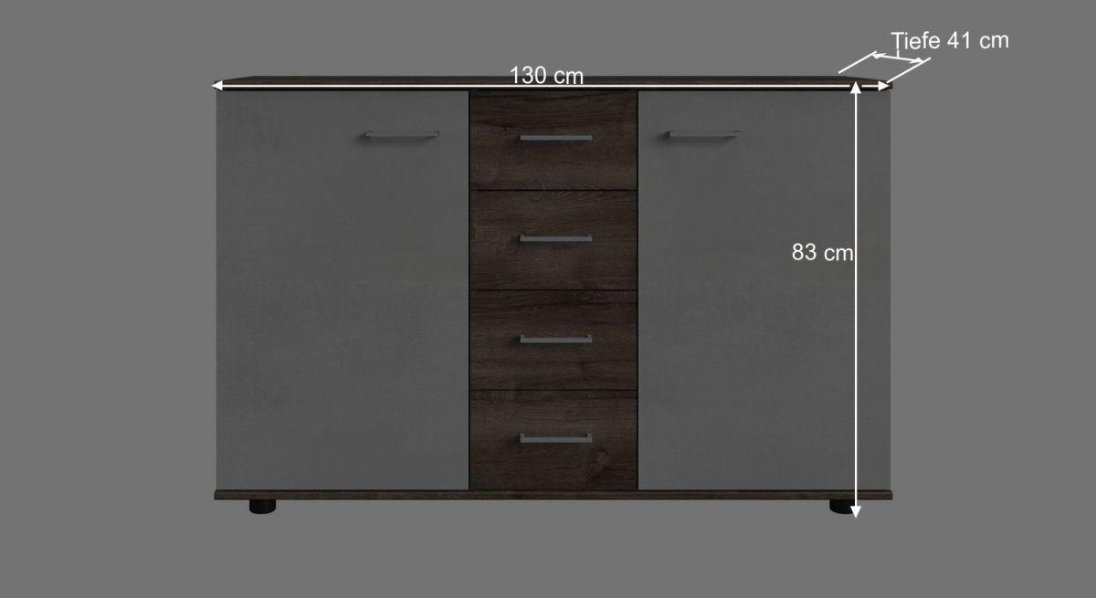 Bemaßungs-Skizze zur breiten Kombi-Kommode Ovatio