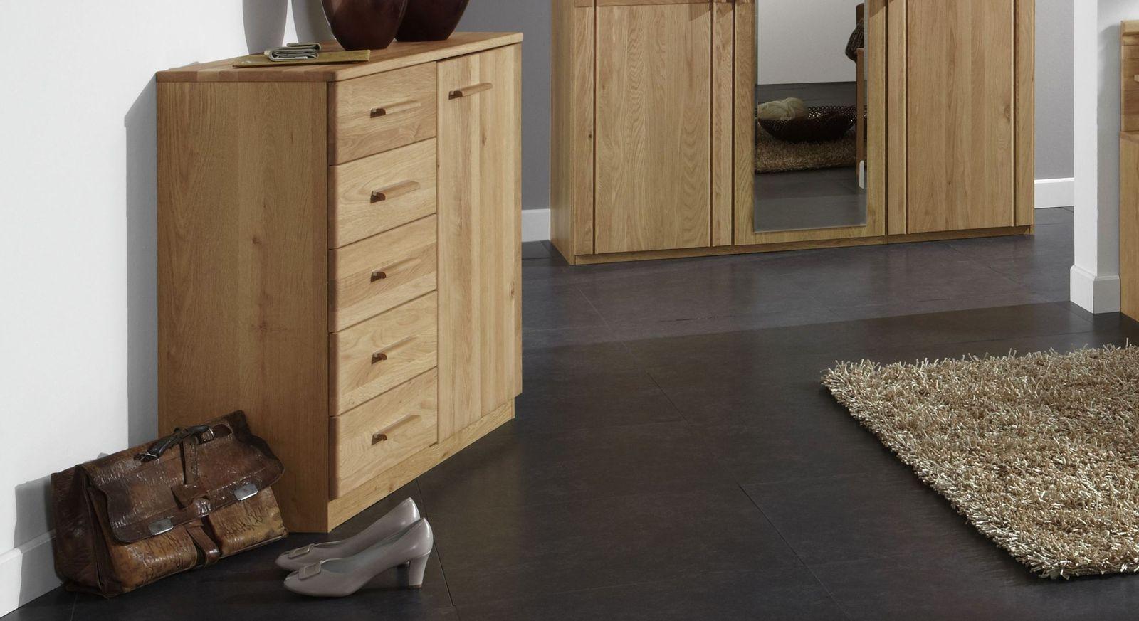 kommode mit schubladen und f chern eiche teilmassiv toliara. Black Bedroom Furniture Sets. Home Design Ideas
