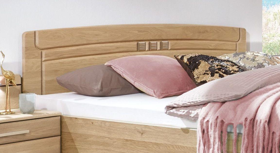 Komfort-Doppelbett Bloomfields Kopfteil aus massiver Eiche