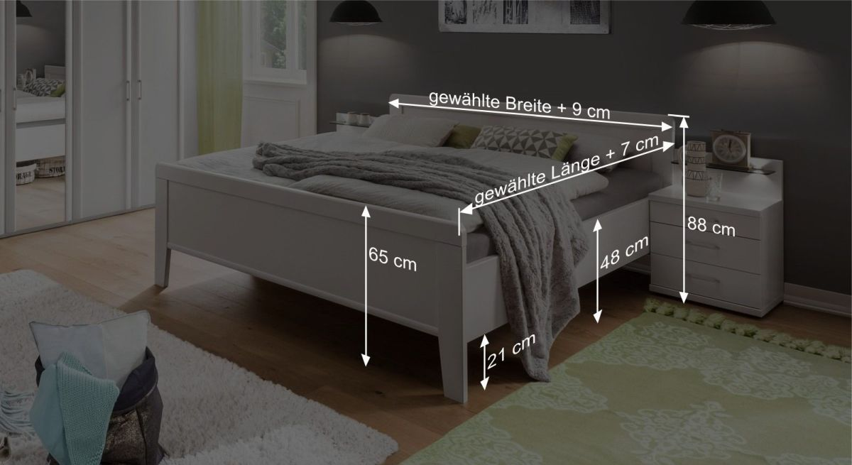 Bemaßungsgrafik zum Komfort-Doppelbett Calimera