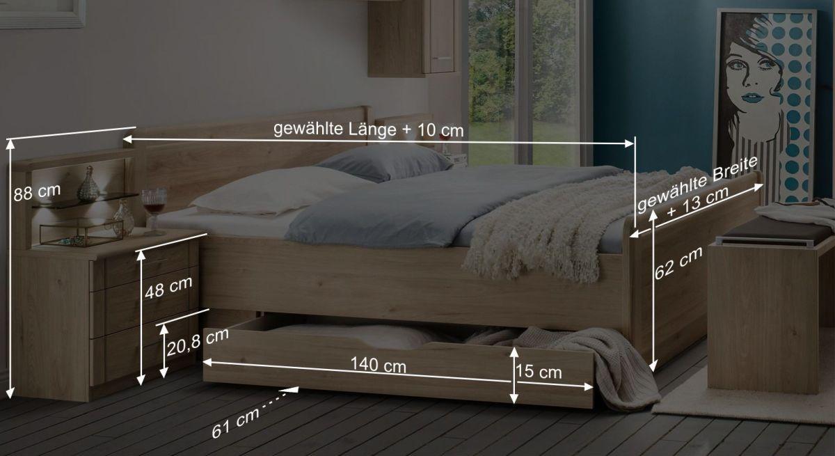 Bemaßungsgrafik zum Komfort-Doppelbett Telford