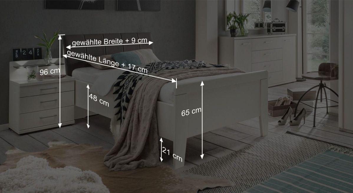 Bemaßungsgrafik zum Komfort-Einzelbett Casperia