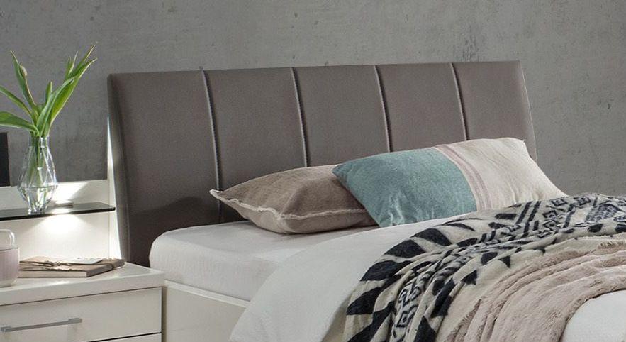 Komfort-Einzelbett Casperia mit braunem Kopfteil