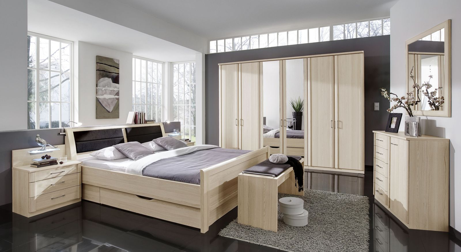 bettbank gepolstert in edel esche dekor und kunstleder rapino. Black Bedroom Furniture Sets. Home Design Ideas