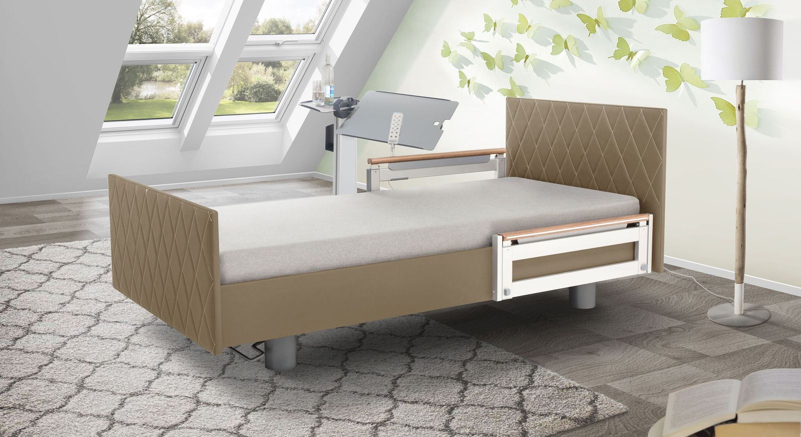 Komfortbett mit Pflegebett-Funktion Borkum mit taupefarbenem Kunstlederbezug