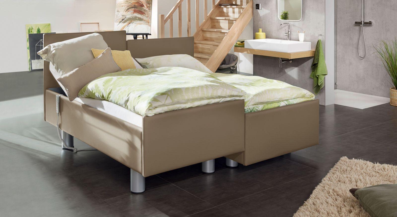 Komfortbett mit Pflegebett-Funktion Fulda in taupefarbenem Kunstleder