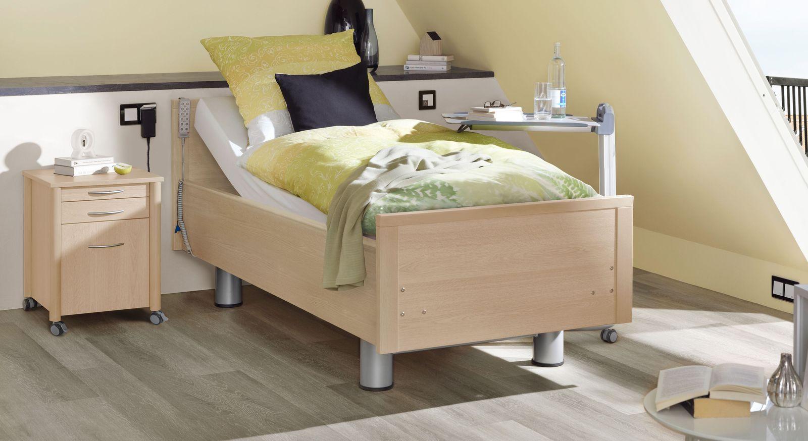 Komfortbett mit Pflegebett-Funktion Isar in Ahorn natur Dekor