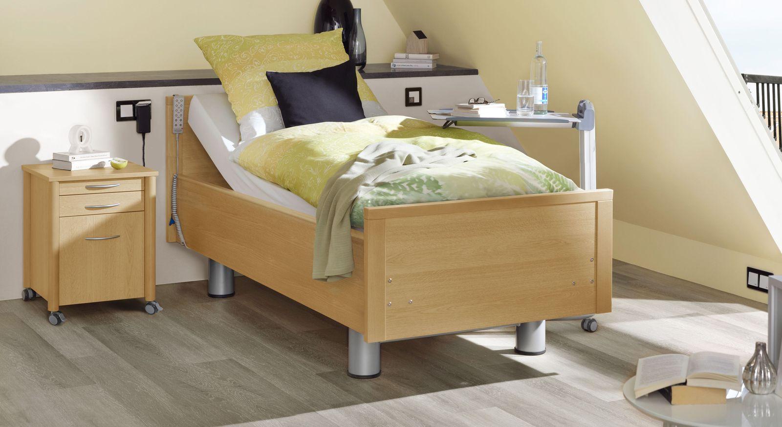Komfortbett mit Pflegebett-Funktion Isar in Buche natur Dekor