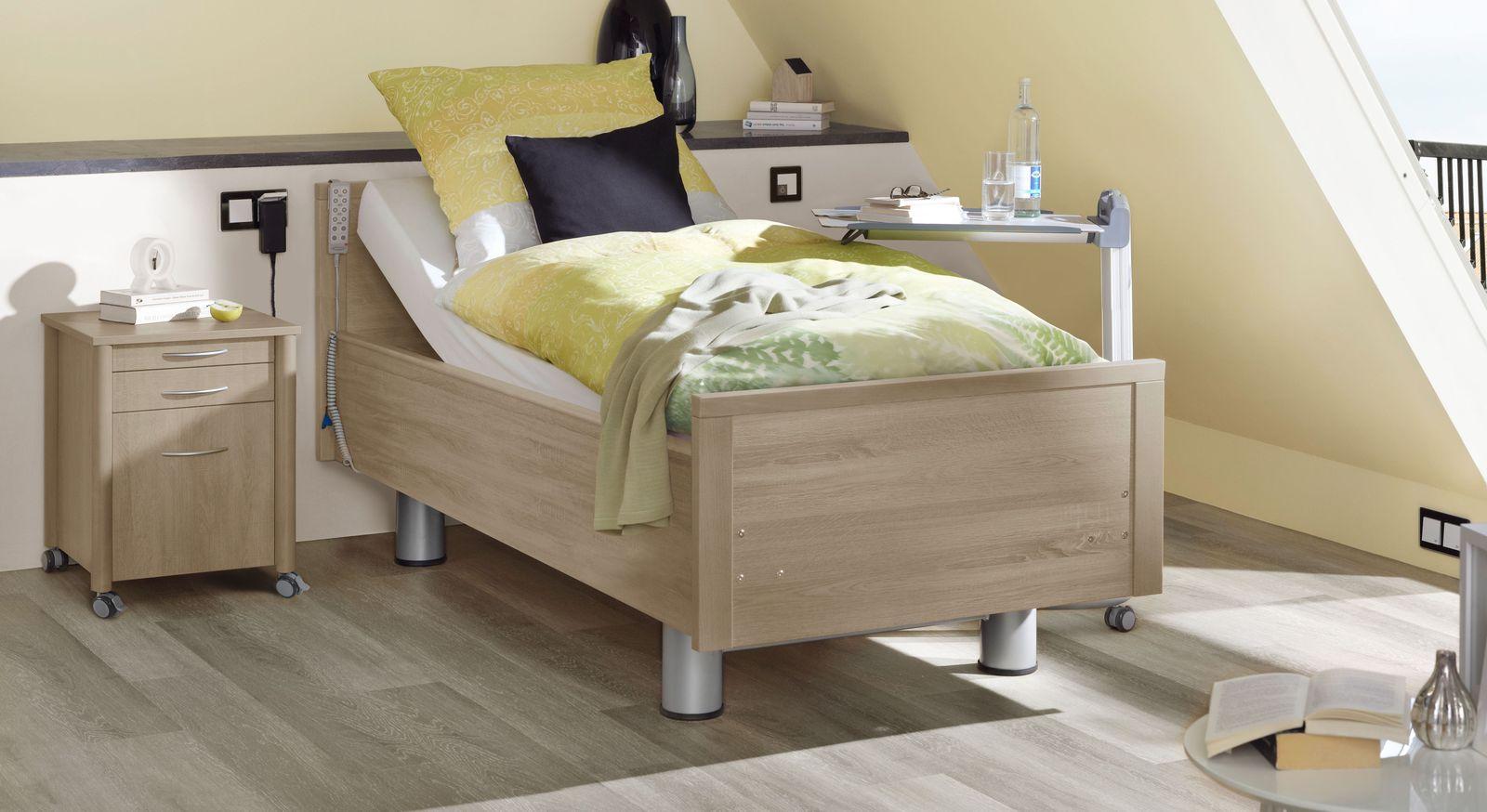 Komfortbett mit Pflegebett-Funktion Isar in Eiche greige Dekor