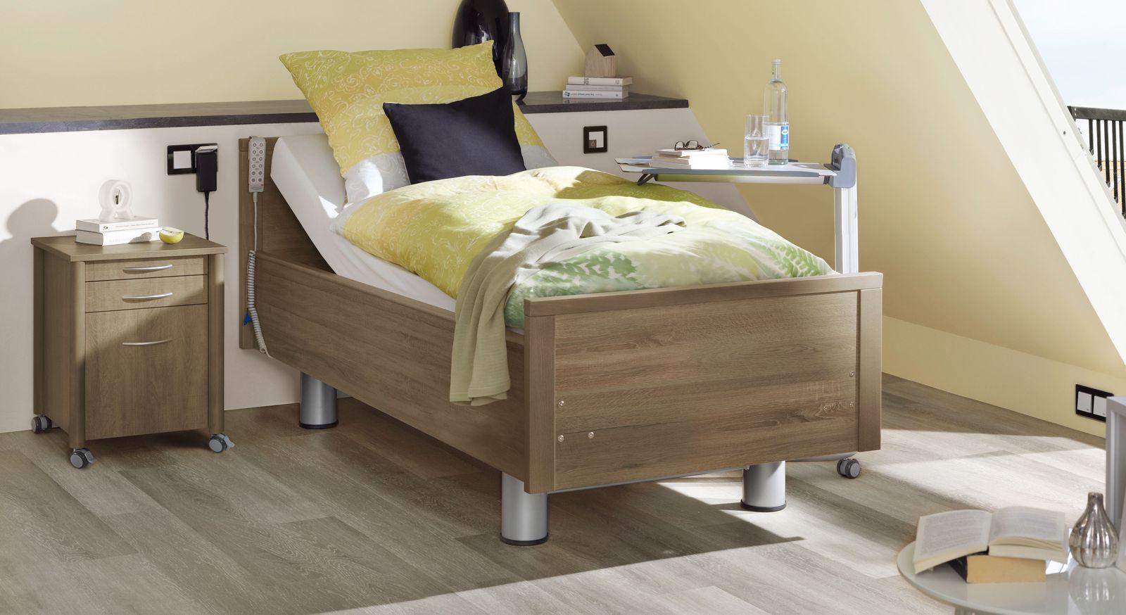 Komfortbett mit Pflegebett-Funktion Isar in Eiche tabak Dekor
