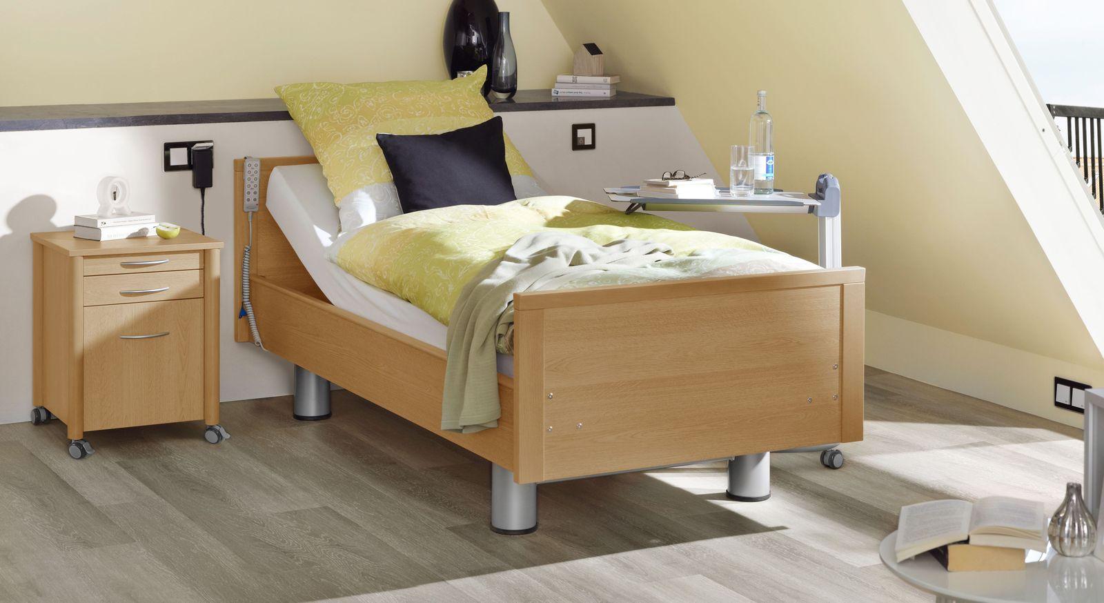 Komfortbett mit Pflegebett-Funktion Isar in Rotbuche Dekor