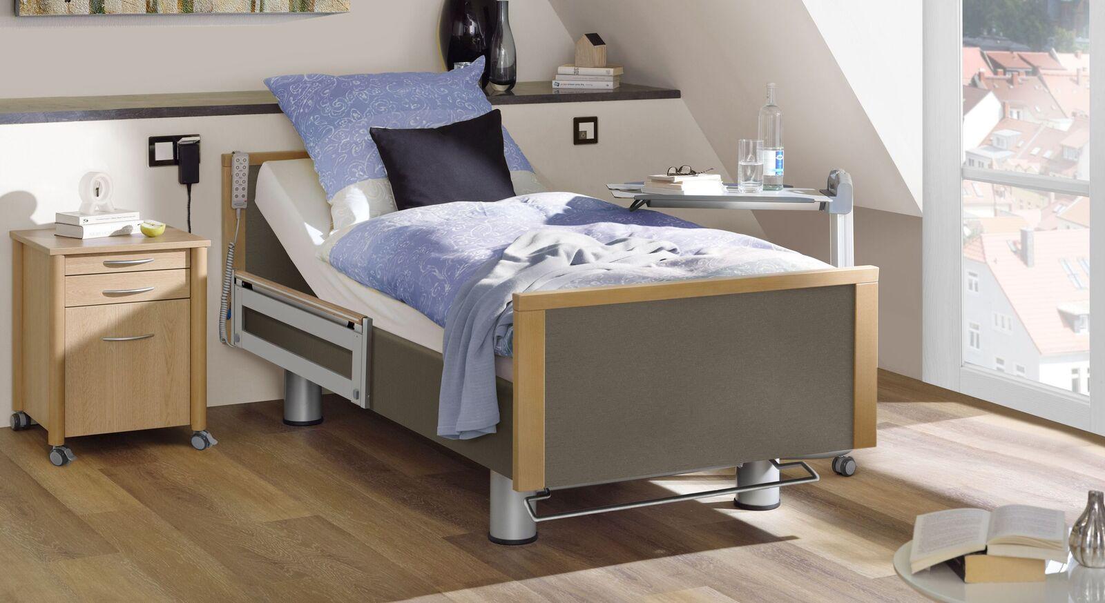 Komfortbett mit Pflegebett-Funktion Sylt mit graubraunem Stoff