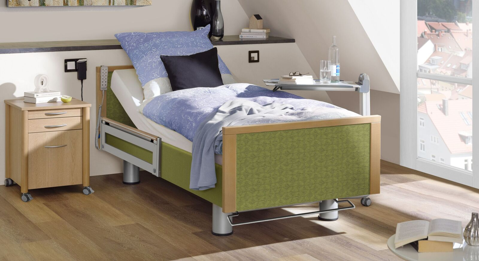 Komfortbett mit Pflegebett-Funktion Sylt aus grünem Stoff