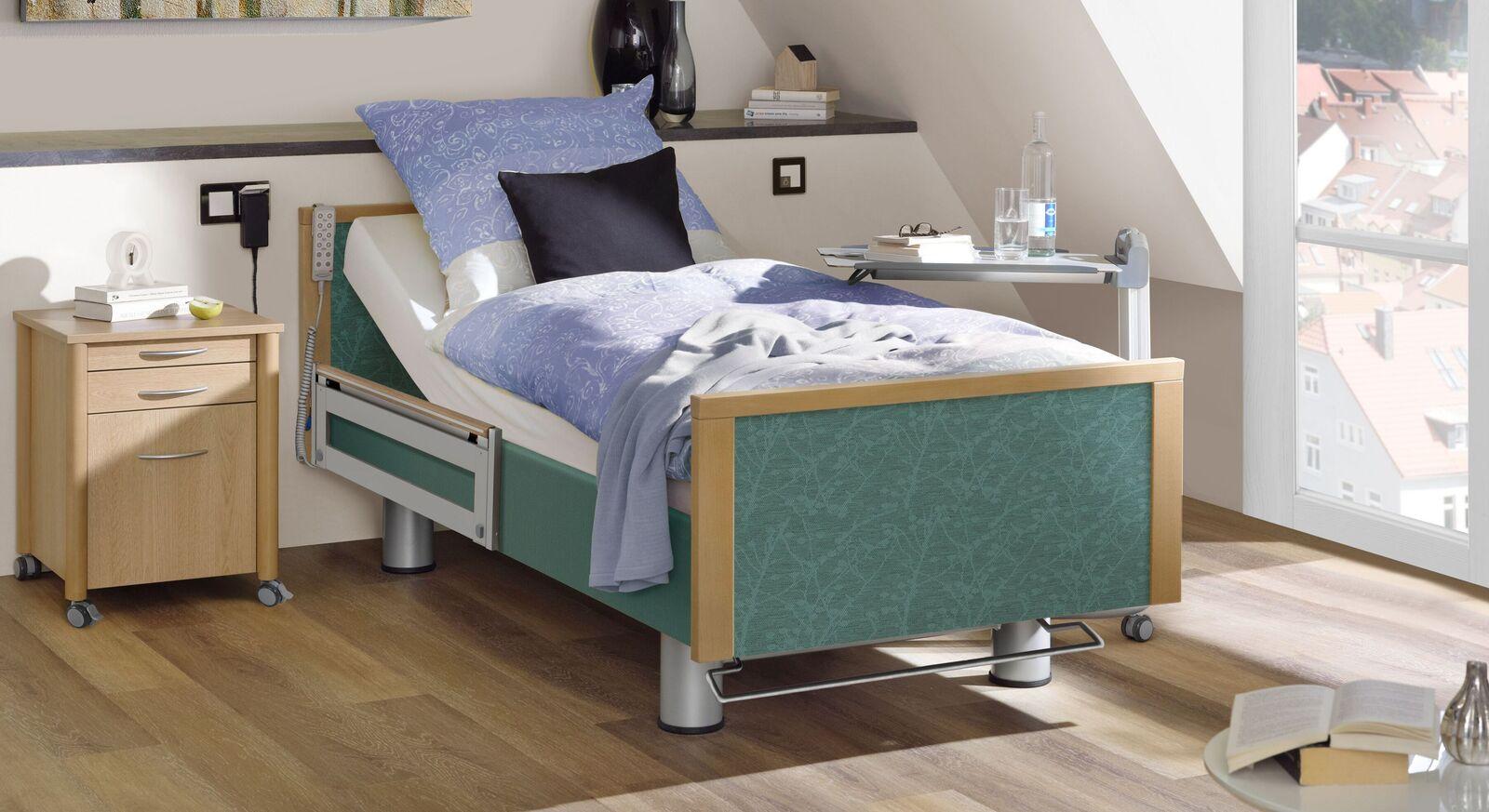 Komfortbett mit Pflegebett-Funktion Sylt mit petrolfarbenem Stoff