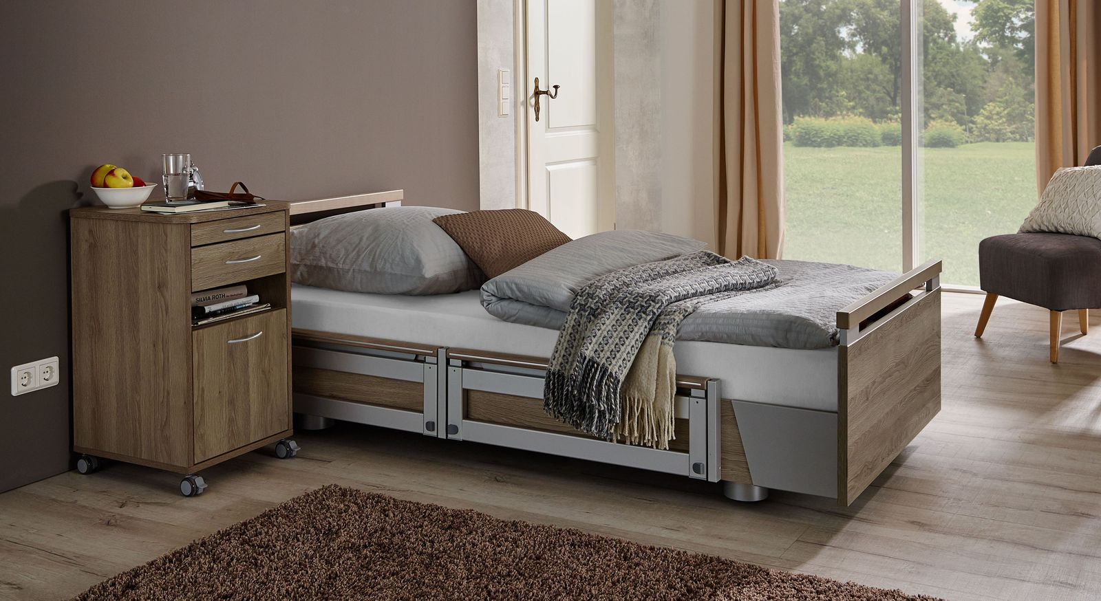 Komfortbett mit Pflegebett-Funktion Usedom in niedriger Position