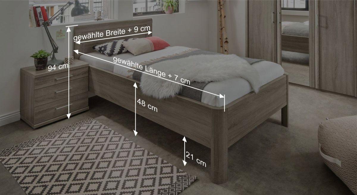 Komfortbett Troias Beemaßungsgrafik