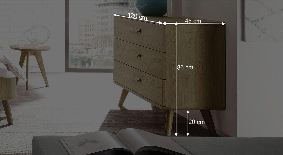 Bemaßungsgrafik zur Kommode Rakaia mit 20 cm Füßen