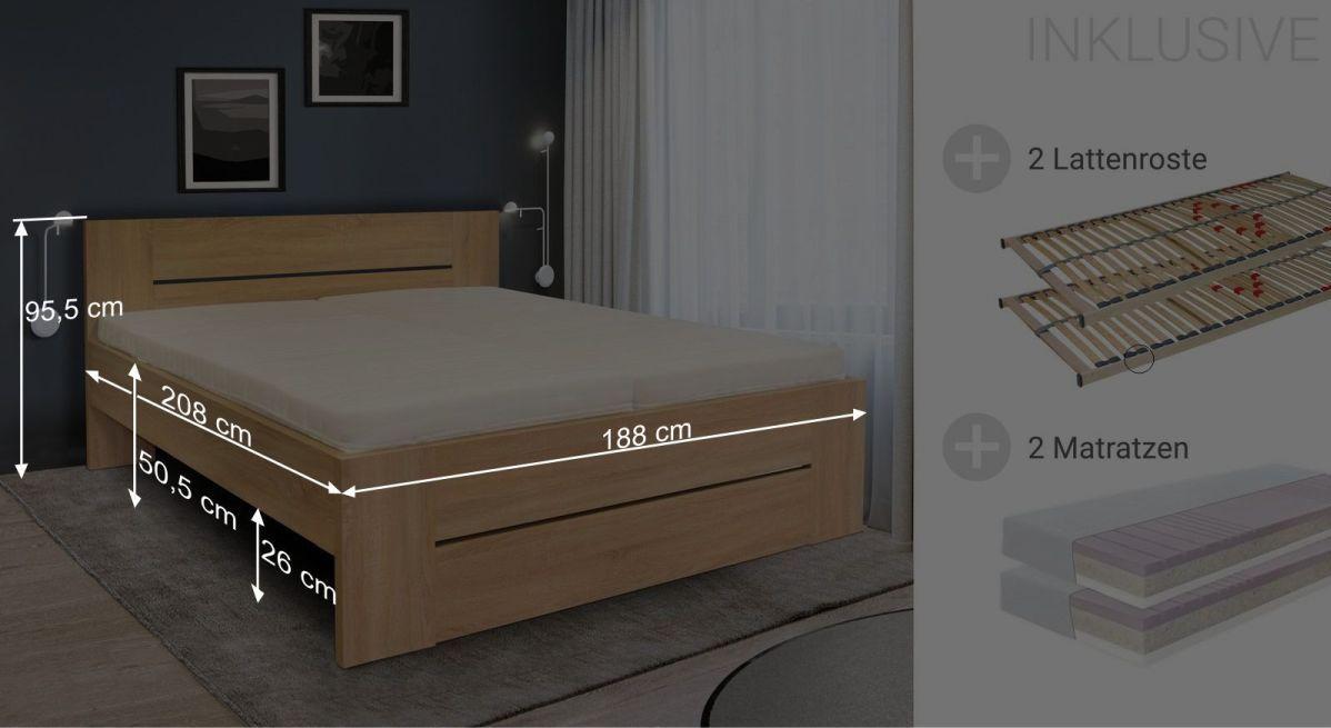 Bemaßungsgrafik zum Komplett-Bett Ellmau