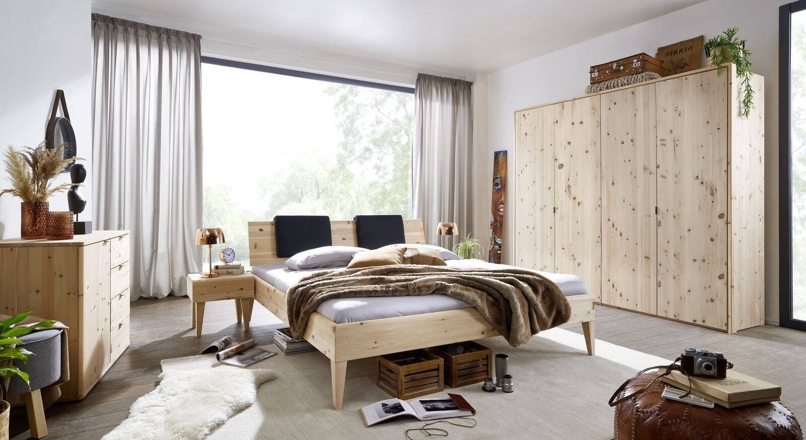 Komplett-Schlafzimmer Alistra aus Zirbenholz