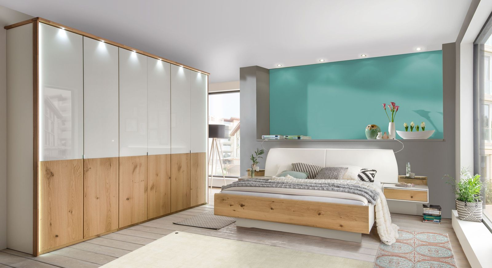 Komplett-Schlafzimmer Briston in Alpinweiß und Balkeneiche Furnier