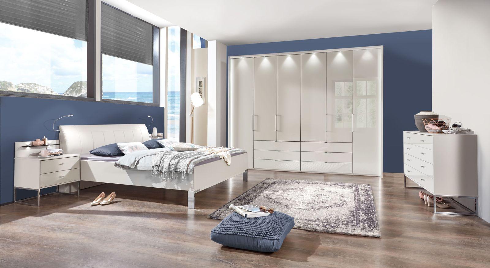 modernes komplett schlafzimmer in champagner dekor glas elmira. Black Bedroom Furniture Sets. Home Design Ideas