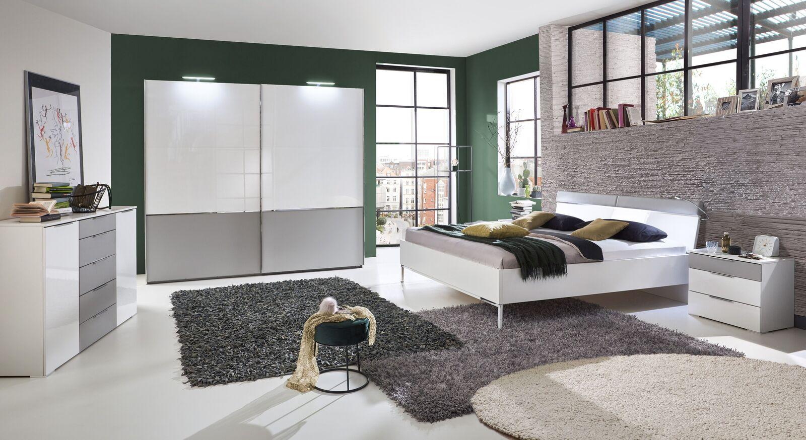 Komplett-Schlafzimmer Florice in Weiß und Grau
