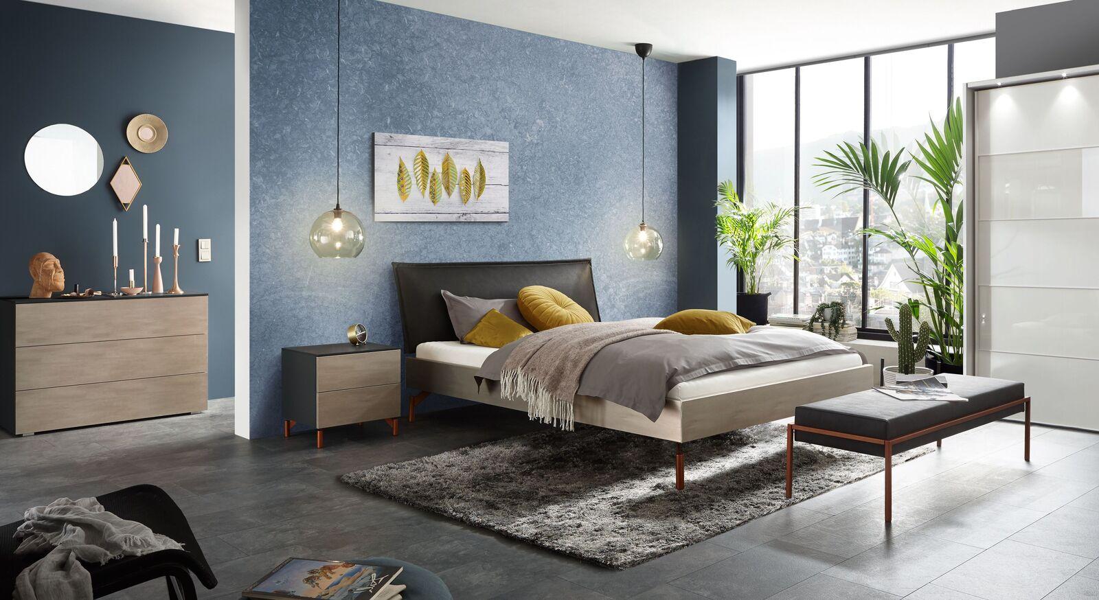 Komplett-Schlafzimmer Istari mit Bett Kleiderschrank und Nachttisch