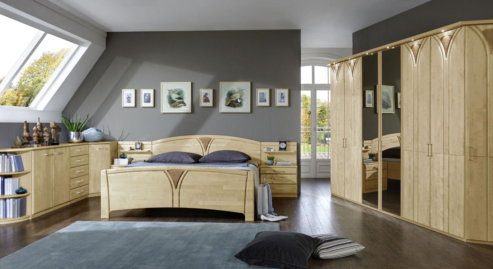 schlafzimmer komplett birke teilmassiv mit viel stauraum karia. Black Bedroom Furniture Sets. Home Design Ideas