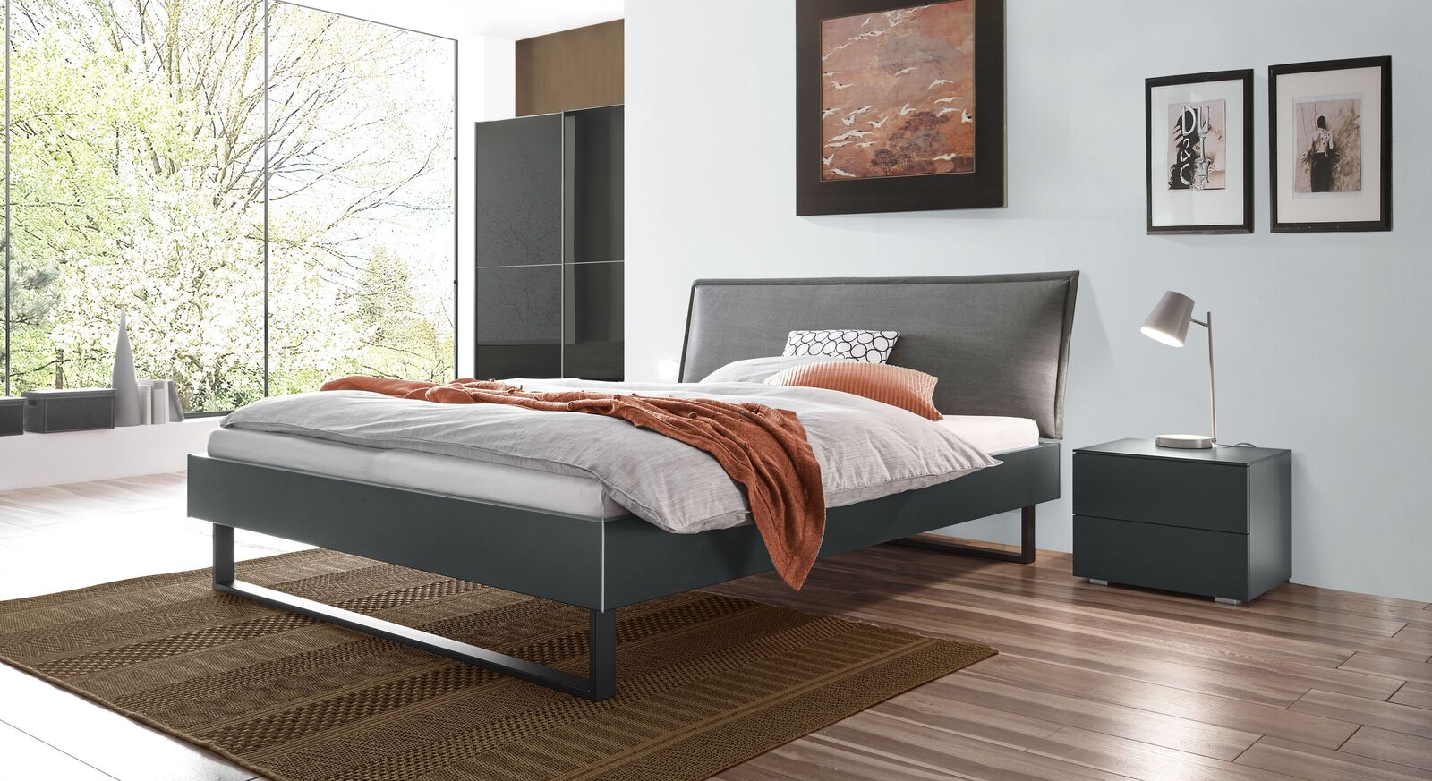 Komplett-Schlafzimmer Kumari in stilvollen Grautönen
