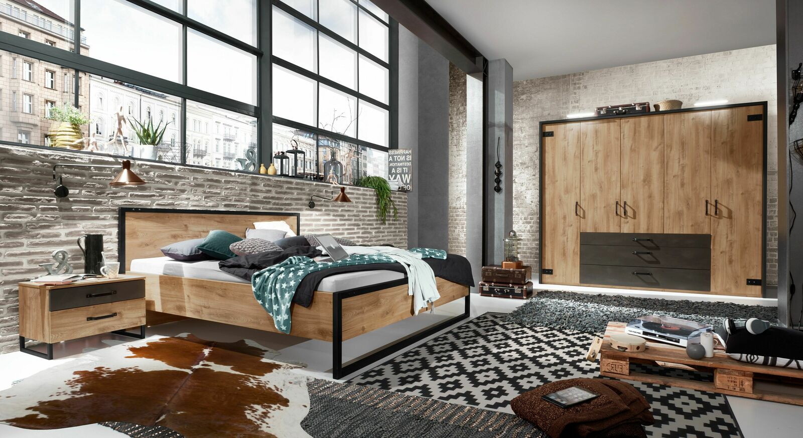 Komplett-Schlafzimmer Lakewood im Industrial-Design
